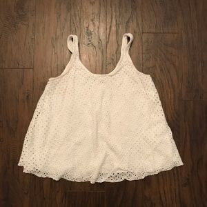 Search for Sanity White Eyelet Tank Top Small